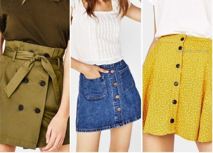 minifalda abotonada - ropa de moda verano 2019 Argentina