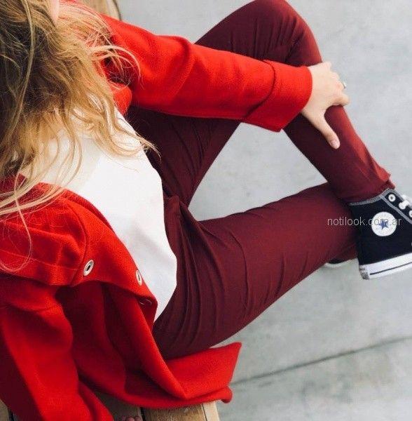 pantalon bengalina bordo saco rojo Summa invierno 2018