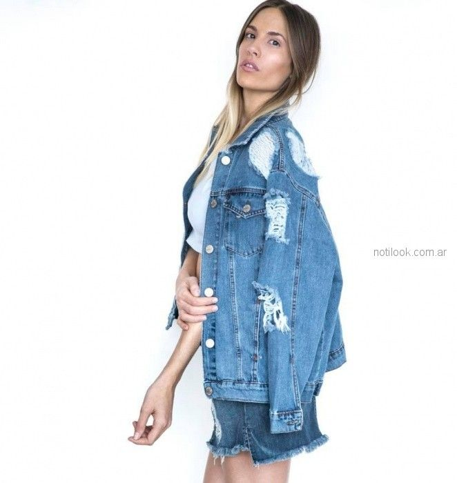 Desvio Jeans - Campera y short de denim con roturas verano 2019