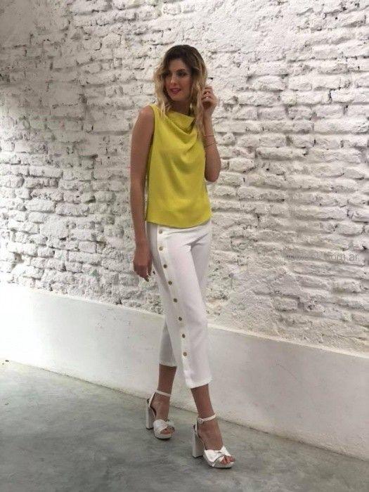 capri blanco con remera amarillo brasco primavera verano 2019