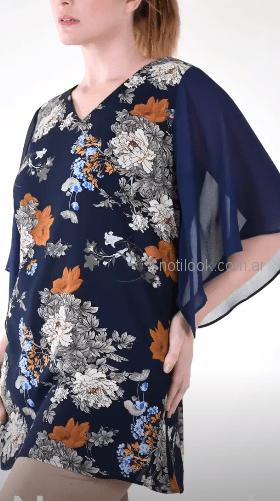 mamy blue blusa tunca azul con flores verano 2019