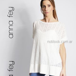 remera blanca mangas cortas con transparencias Anna Fey primavera verano 2018