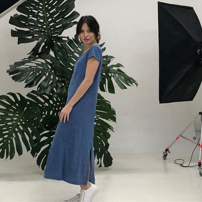 vestido largo mangas cortas informal okoche primavera verano 2019