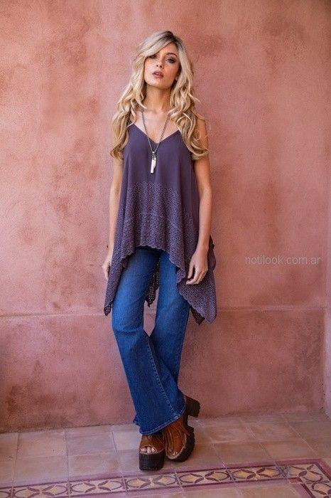 blusa asimetrica casual Sophya look hippie chic verano 2019
