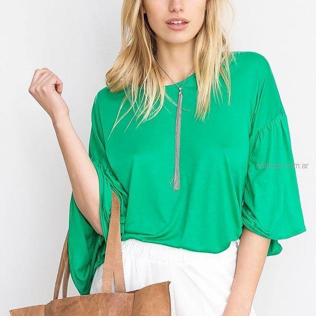 blusa casual verde pura pampa verano