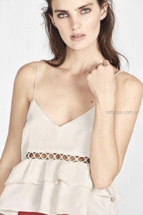 blusa lino breteles finos y volado rapsodia blusa de seda con cintas estilo guarda Rapsodia primavera verano 2019