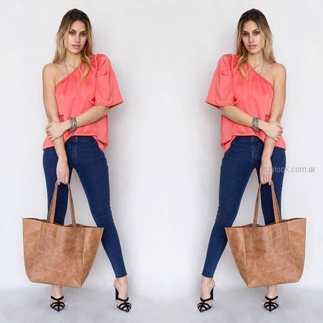blusa rosa escote cruzado pura pampa verno