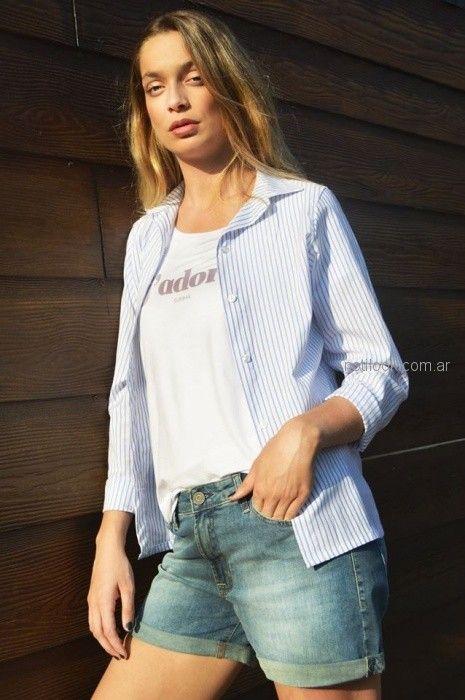 camisa a rayas para mujer Summa primavera verano 2019