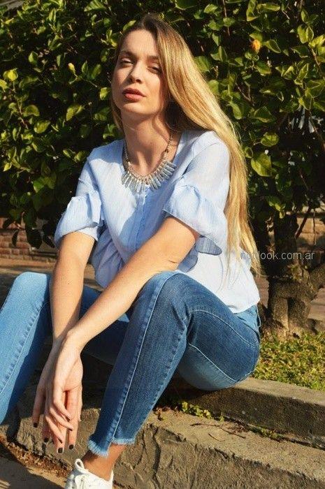 camisa celeste mangas cortas Summa primavera verano 2019