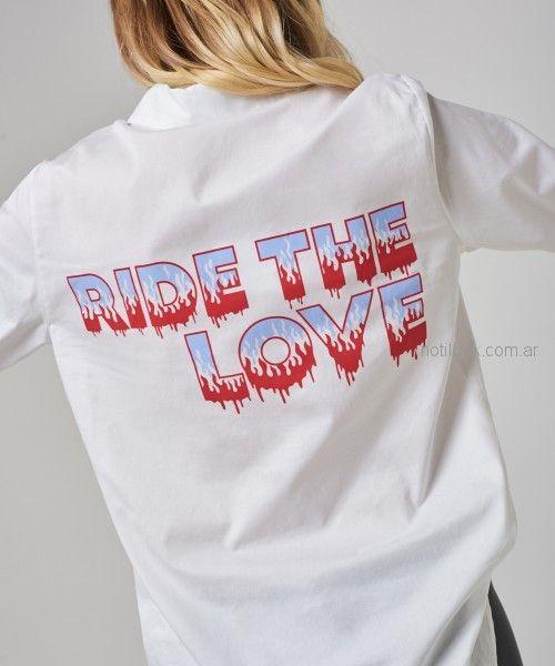 camisa mujer con frases impresas kosiuko primavera verano 2019