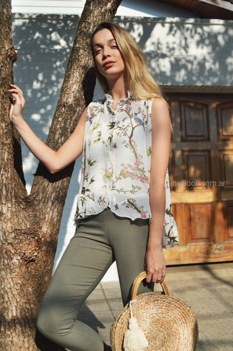 camisa musculosa de gasa estampada Summa primavera verano 2019