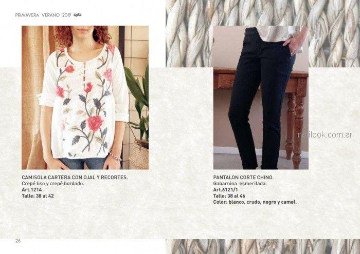 camisola delantera bordada y jeans señoras Las taguas verano 2019