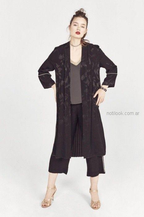 kimono negro rapsodia blusa de seda con cintas estilo guarda Rapsodia primavera verano 2019