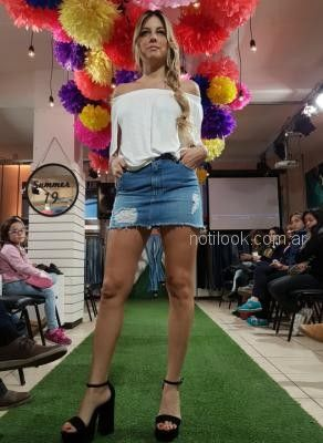 minifalda jeans con gastados Abstracta primavera verano 2019