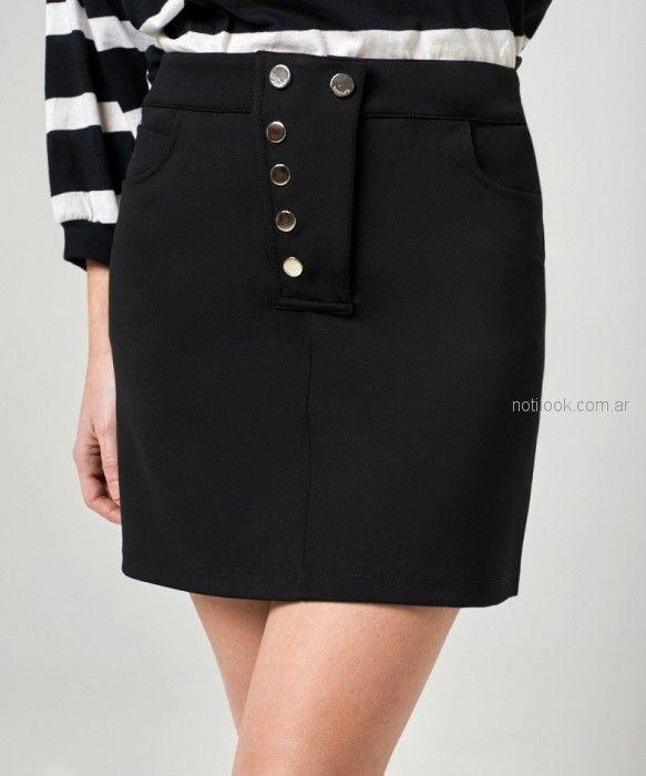 minifalda negra botones kosiuko primavera verano 2019