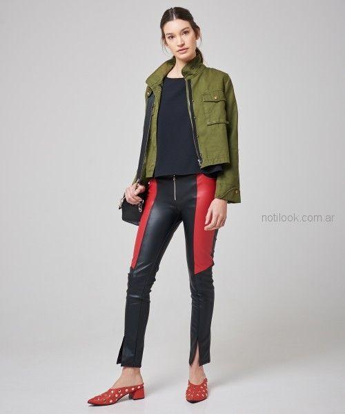pantalones de cuero con recortes kosiuko primavera verano 2019