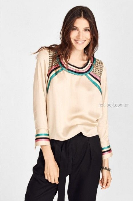 rapsodia blusa de seda con cintas estilo guarda Rapsodia primavera verano 2019 (2)