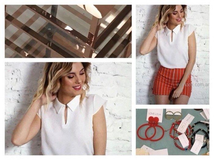 short a rayas y blusa blanca cuello camisa brasco primavera verano 2019