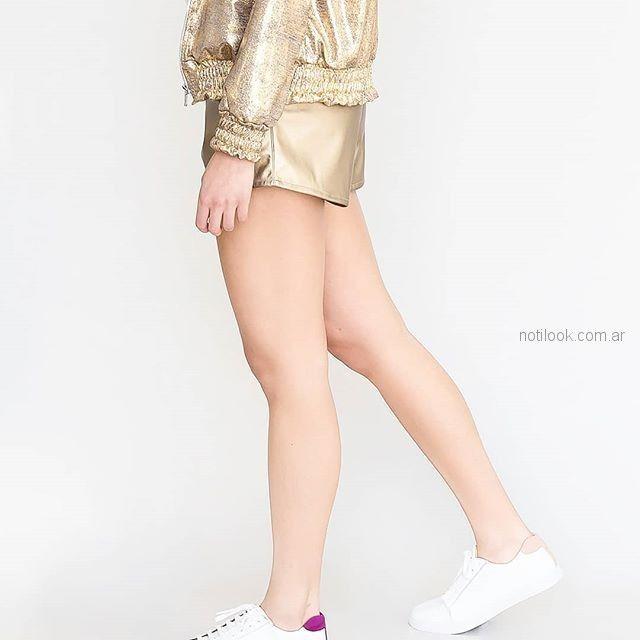 short metalizado engomado dorado pura pampa primavera verano 2019