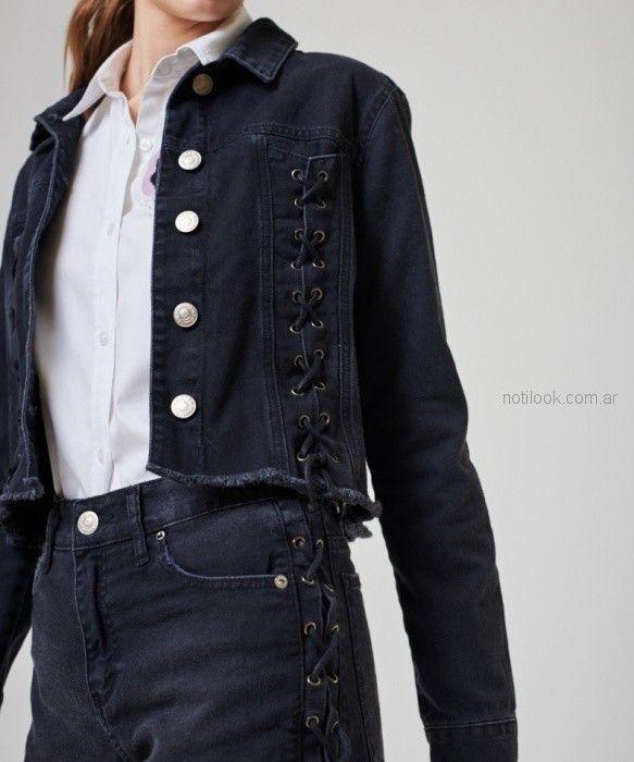 short y campera jeans detalle acordonado kosiuko primavera verano 2019