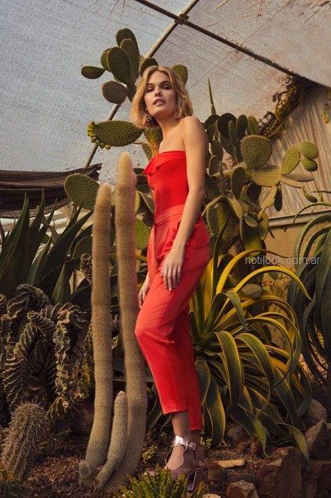 top rojo con capri pantalon de vestir Tucci primavera verano 2019