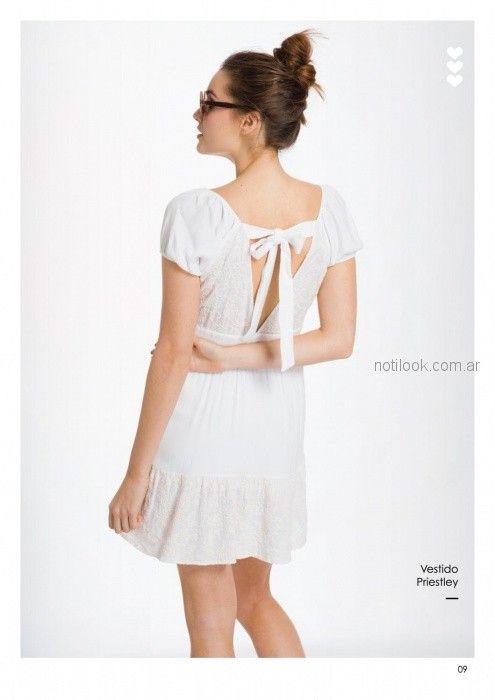 vestido casual mangas cortas blanco con lazo en espalda Asterisco primavera verano 2019