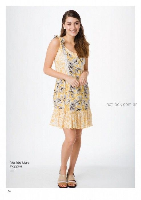 vestido corto con volado estampa amarilla casual Asterisco primavera verano 2019