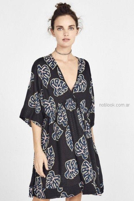 vestido corto estilo tunica rapsodia blusa de seda con cintas estilo guarda Rapsodia primavera verano 2019