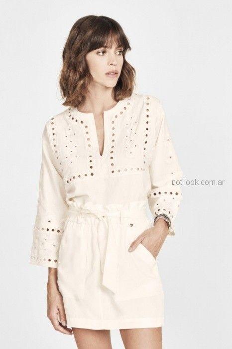 vestido corto gon guardas caladas blanco rapsodia blusa de seda con cintas estilo guarda Rapsodia primavera verano 2019
