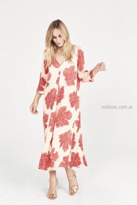 vestido floreado estilo tunica rapsodia blusa de seda con cintas estilo guarda Rapsodia primavera verano 2019