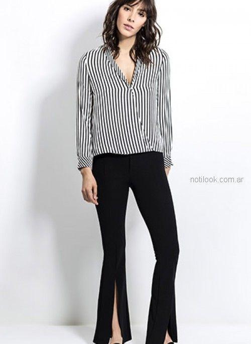 blusa a rayas con pantalon con tajo look oficina Activity Primavera verano 2019