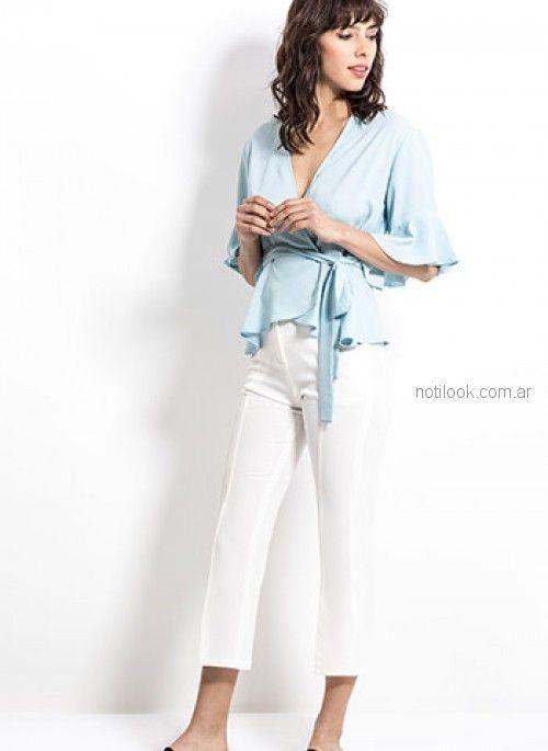 blusa cruzada con pantalon blanco look oficina Activity Primavera verano 2019