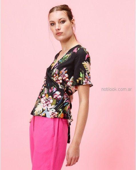 blusa cruzada estilo japonesa estampada verano 2019 - Portsaid