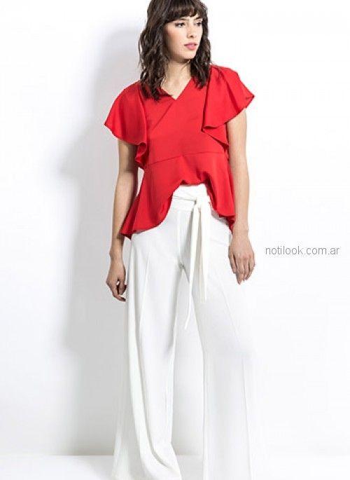 blusa roja con palazzo blanco look oficina Activity Primavera verano 2019