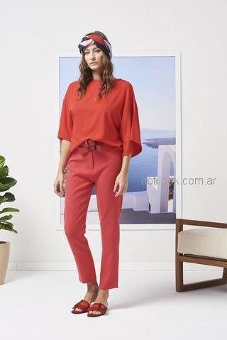 blusa y pantalon de vestir rojo Calandra primavera verano 2019