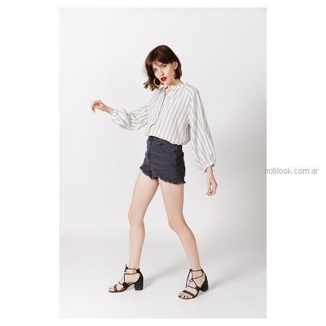 blusas mangas largas a rayas y short de jeans Sofia Caputo primavera verano 2019