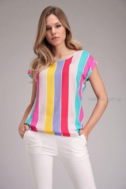 blusas rayas verticales de seda Brandel primavera verano 2019