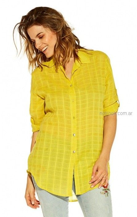 camisa amarilla mujer Mirta Armesto verano 2019
