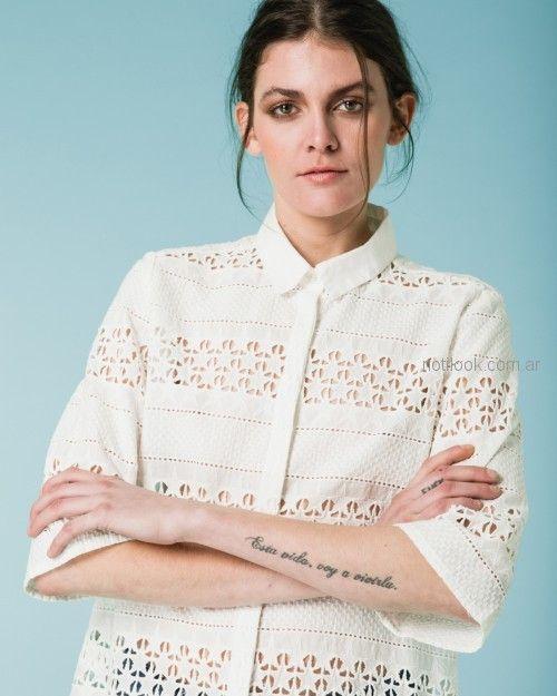 camisa blanca calada Wanama primavera verano 2019