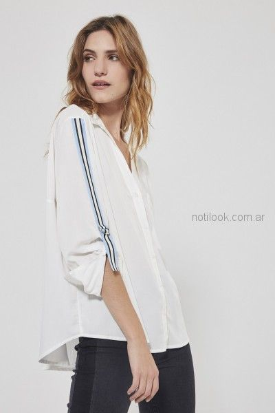 camisa blanca con guarda en mangas Estancias Chiripa primavera verano 2019