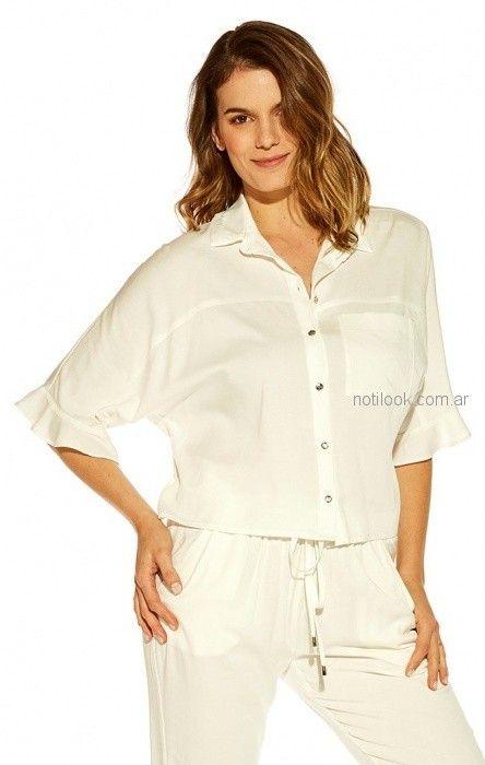 camisa blanca mujer Mirta Armesto verano 2019 (2)