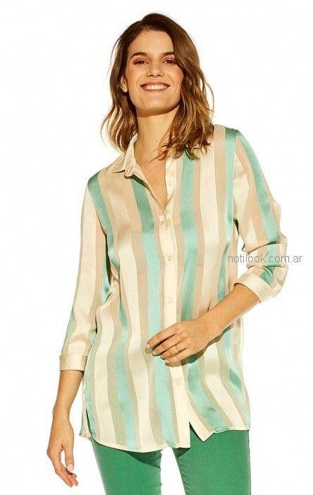 camisa de seda a rayas Mirta Armesto verano 2019
