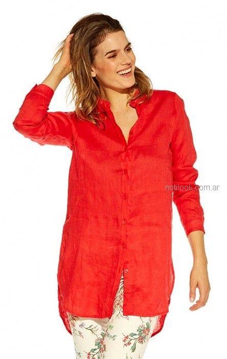 camisa roja mujer Mirta Armesto verano 2019