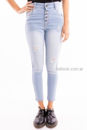 jeans chupin botones tiro alto celeste Brake up primavera verano 2019