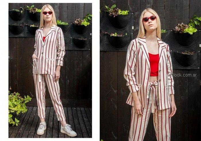 look casual con taje de lino a rayas mujer Tramps primavera verano 2019