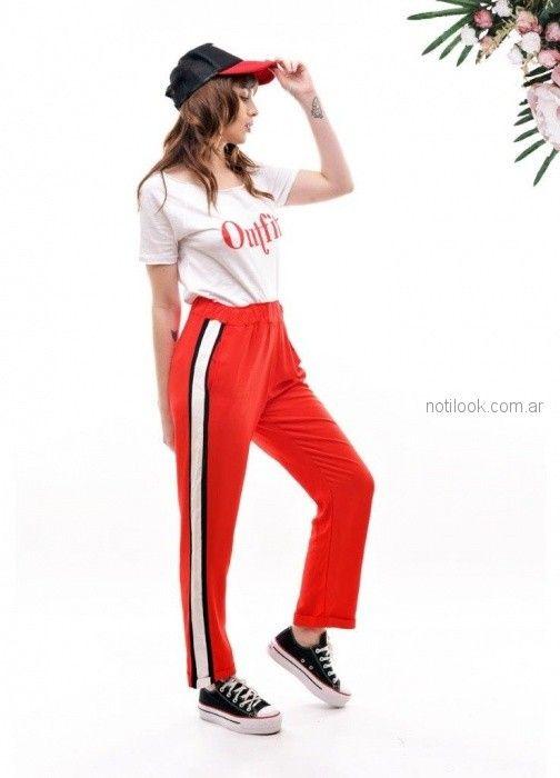 look con pantalones con franjas laterales Baloop verano 2019