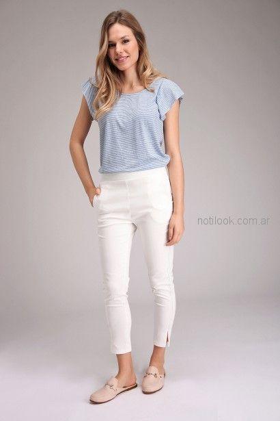 look informal con pantalon blanco para señoras Brandel primavera verano 2019