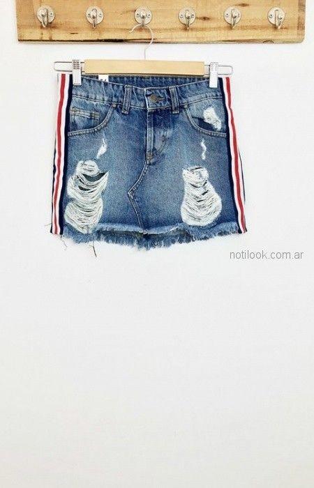 minifaldas de jeans con gastodos y roturas Lovely Denim verano 2019