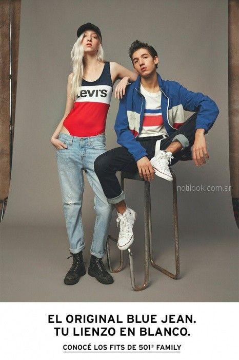 musculosa y jeans rustico Levis mujer verano 2019