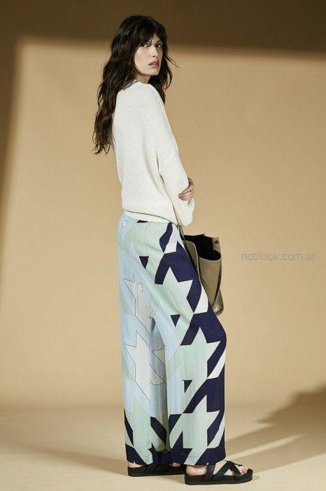pantalon ancho estampa geometrica Maria Cher primavera verano 2019